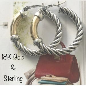 Jewelry - Twisted Cable Hoop Earrings 925 & 18K